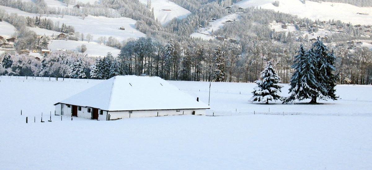 Buvette de montagne en Gruyère - AU Creux du Feu en hiver